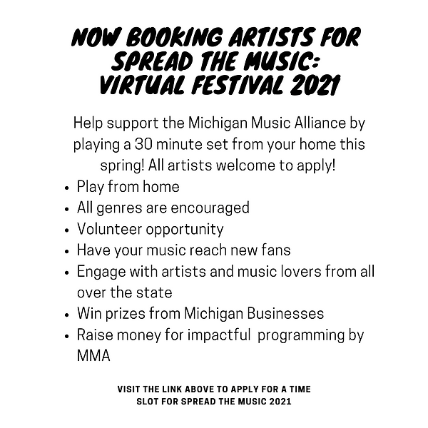 now booking artists for spread the music