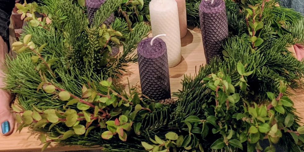 Advent Wreath with Beeswax Candles by YYC Beeswax