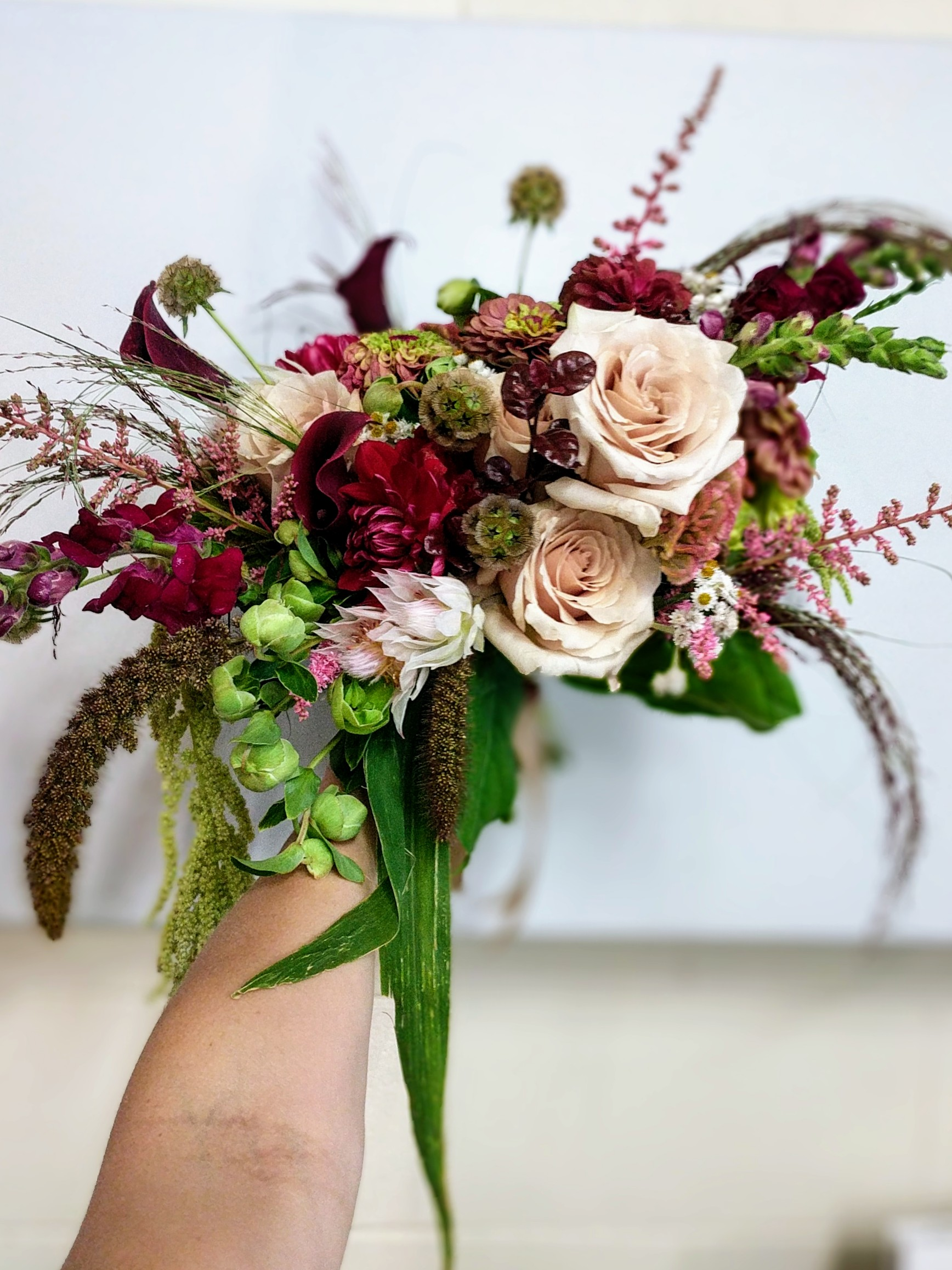 Romantic burgandy and blush bridal b