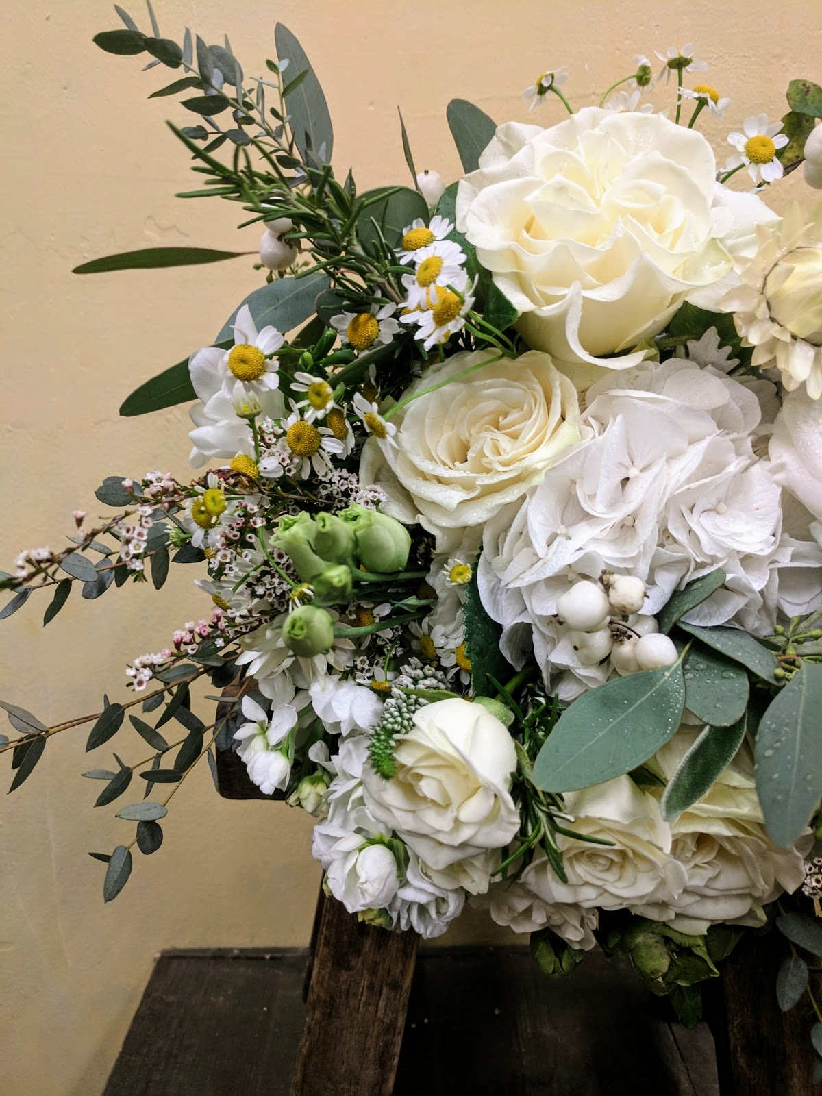 White on white wedding flowers