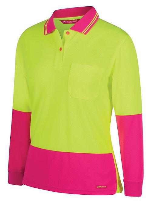 6LHCL- JBs Wear - Ladies Hi Vis L/S Comfort Polo