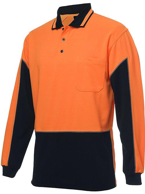 6HVGL - JBs Wear - Hi Vis Long Sleeve Gap Polo