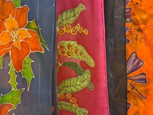 #300 - 340 Hand Painted Silk Scarves