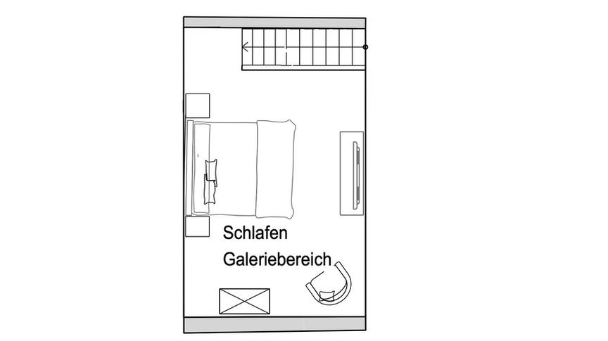 Grundriss Apartment Zwoon - obere Etage