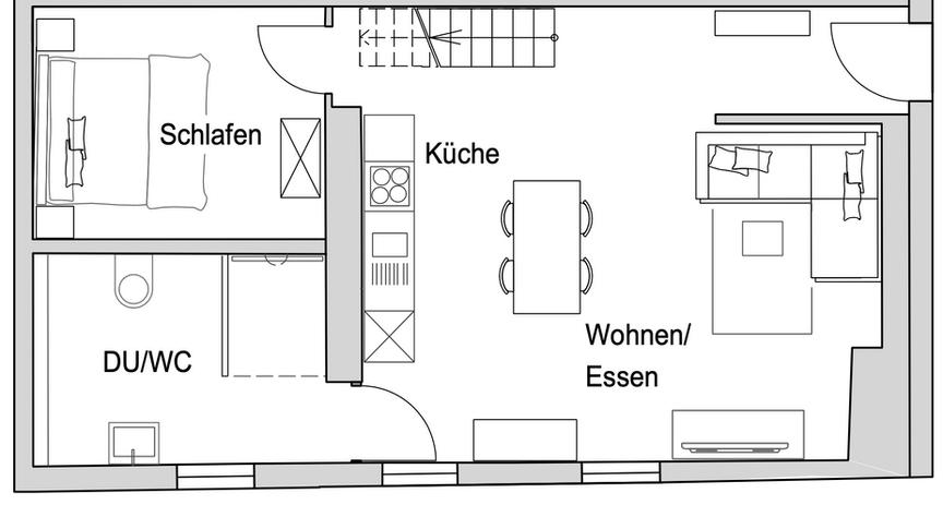 Grundriss Apartment Zwoon - untere Etage
