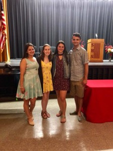 Vicki's brother Mathew and sister Carlee joined by Molly Hines (in maroon) and Taylor Brady (in yellow).