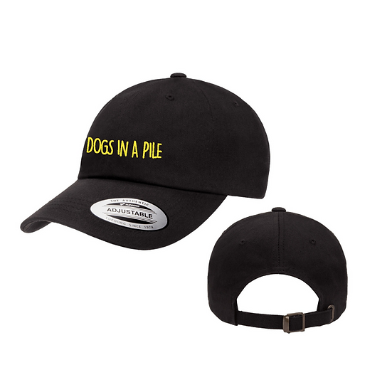 Black Embroidered Lettering Dad Hat