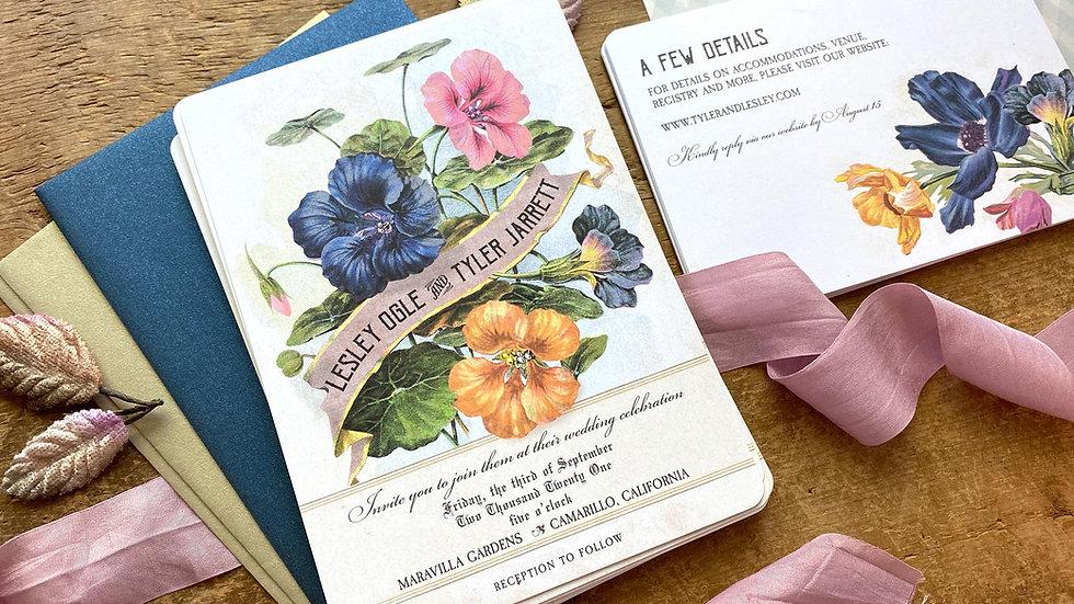 Vintage Botanical Flowers Wedding Invitation Suite