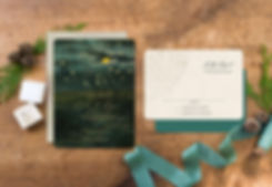 gold foil wedding invitations, starry night wedding invites, lake wedding invitations, vintage wedding invitations