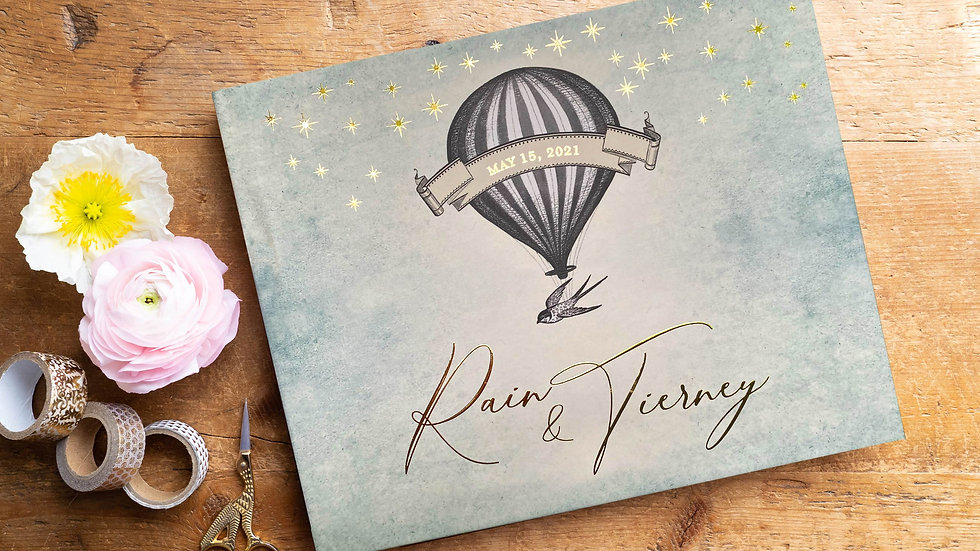 Dusty Blue Hot Air Balloon Wedding Shower Guest Book - Photo Album