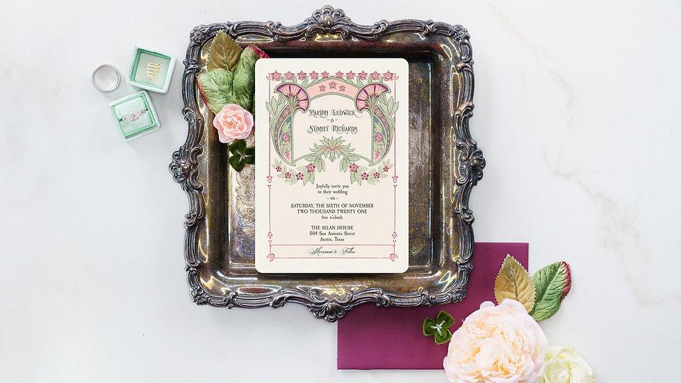 Art Nouveau Vintage Botanical Wedding Invitation Suite