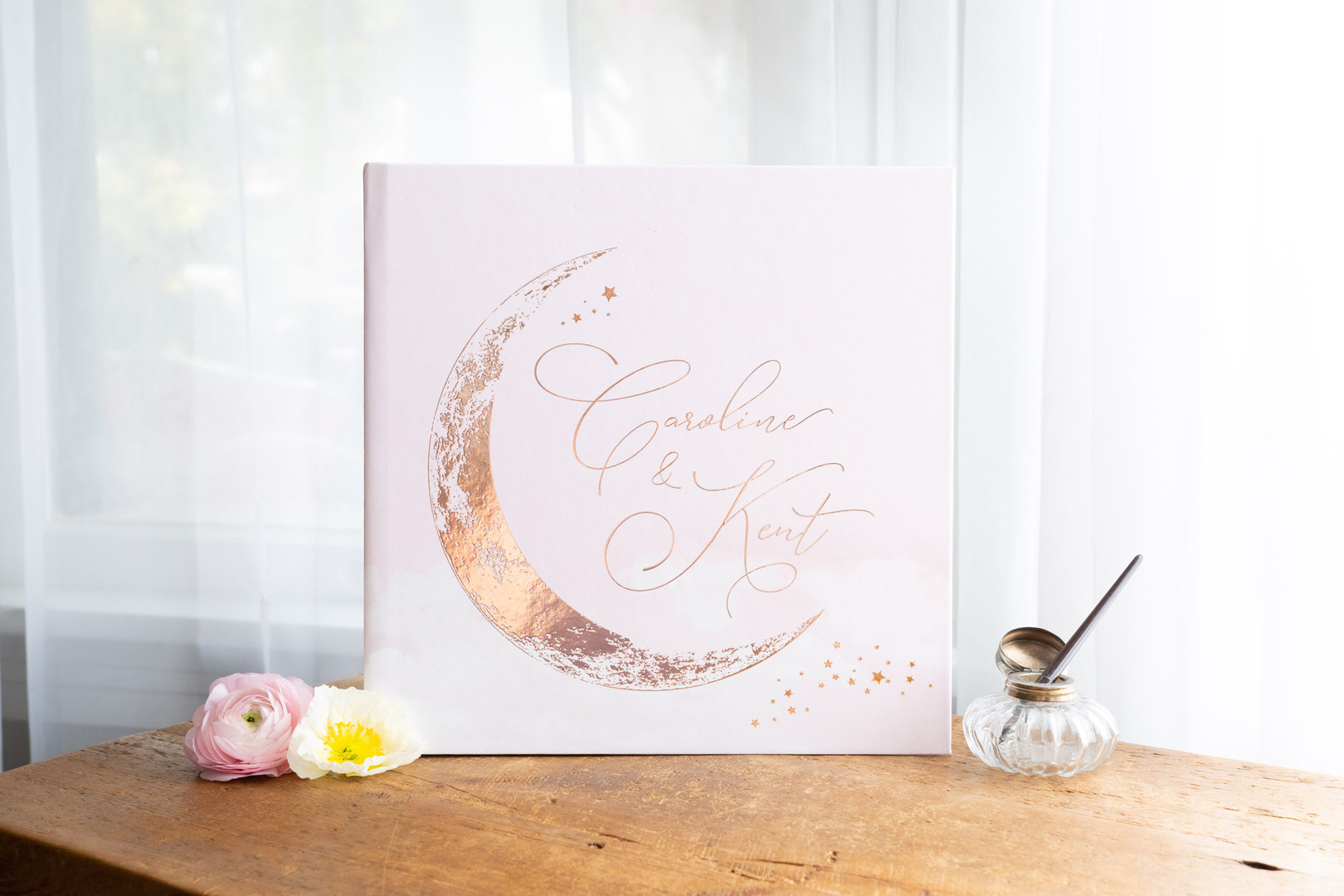 Blush Pink Crescent Moon Guest Book