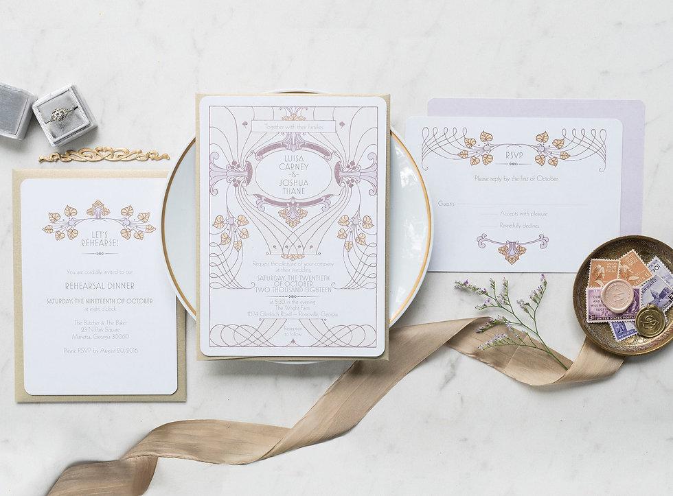 ar nouveau wedding invitations, victorian wedding invitations, lavender wedding invitations