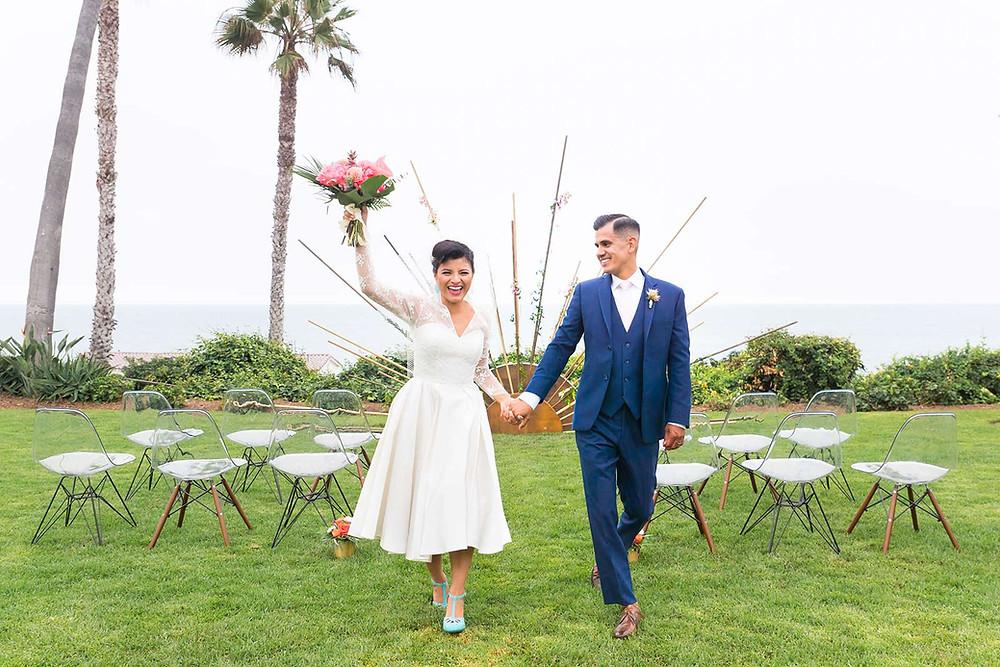 mid century modern wedding, vintage wedding, gilded swan paperie