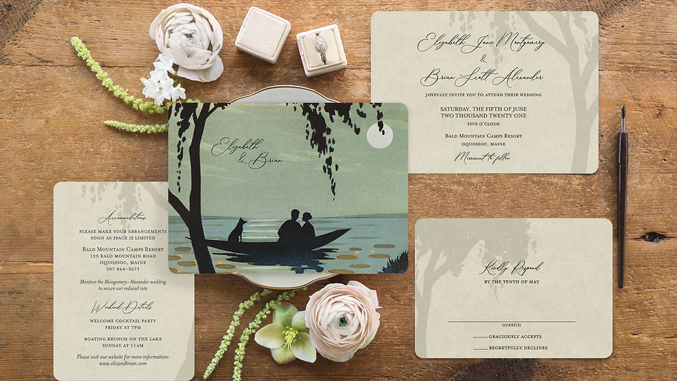 Rustic Lake Themed Wedding Invitations