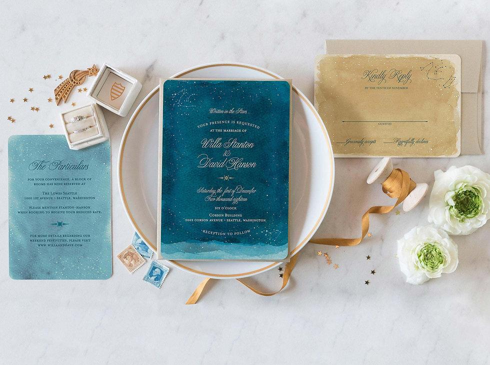 under the stars wedding invitation, starry night wedding invitations, zodiac wedding invitations, constellation wedding invites