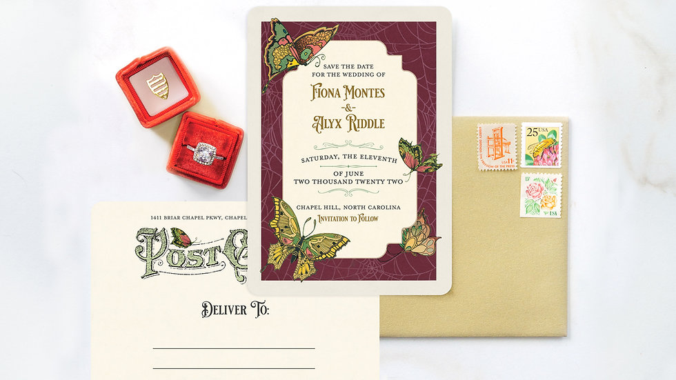 Vintage Butterfly Art Nouveau Save the Date Postcards