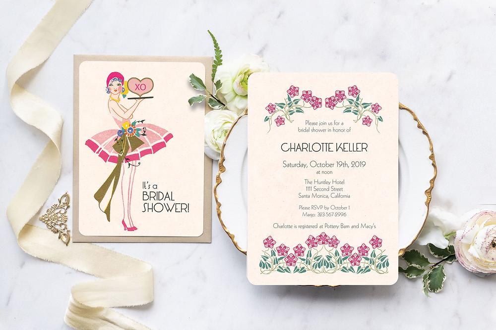 bridal shower invitations, art deco wedding, art deco bridal shower, gatsby bridal shower, vintage bridal shower invitations