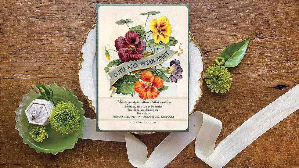 Vintage Botanical Flowers Wedding Invitation Suite