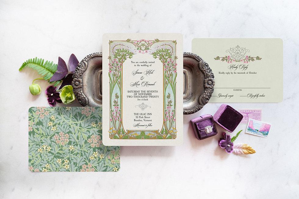art_nouveau_vintage_wedding_invitation, vintage floral wedding stationery, alphonse mucha invitations, pink and green wedding invitations