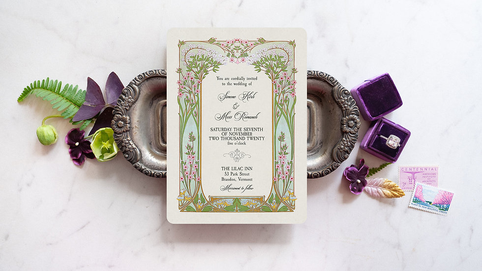 Clementine Art Nouveau Wedding Invitations