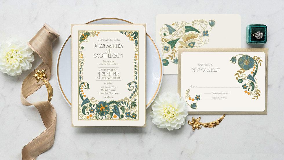 Floral Art Deco Wedding Invitations - Jade Mandeville