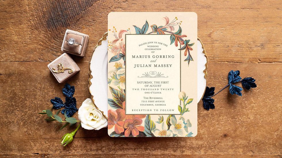 Colorful Flower Garden Wedding Invitations