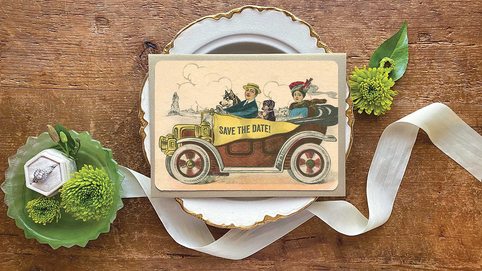 Victorian Wedding Antique Car Save the Date