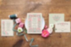 pink_green_wedding_invitation_floral, thistle wedding invitation, scottish thistle wedding invite