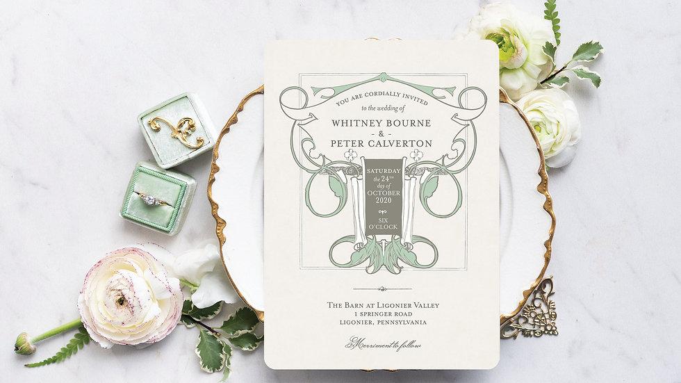 Vintage Boho Chic Wedding Invitations