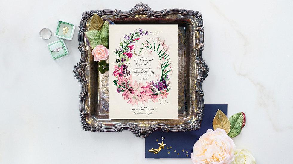 Botanical Celestial Wedding Stationery - Midsummer Night Dream Inspired