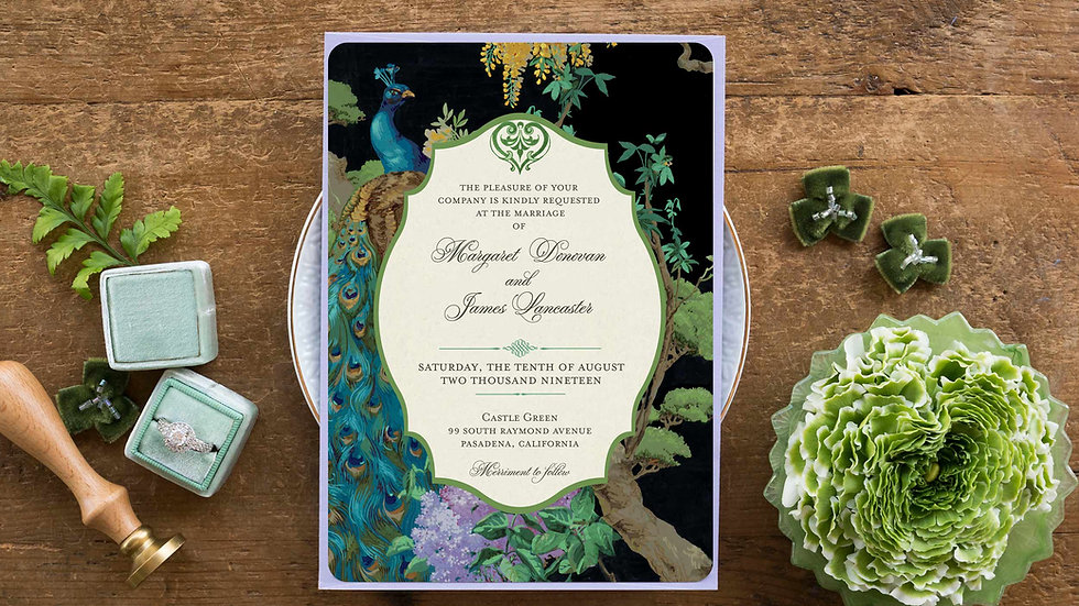 Jewel Toned Peacock Wedding Invitations