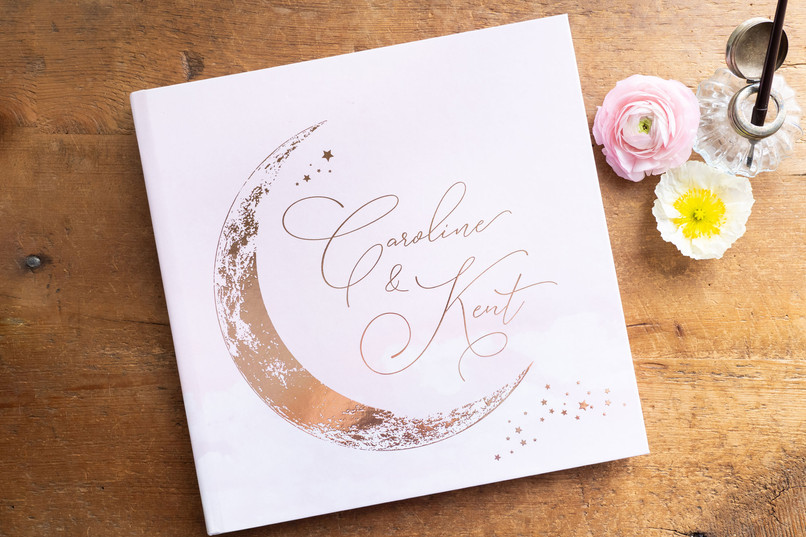 Rose Gold Crescent Moon Guest Book Colors - fully customizable