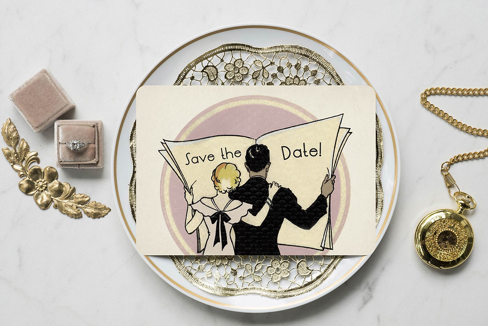 save the date cards, art deco wedding save the date, vintage save the date