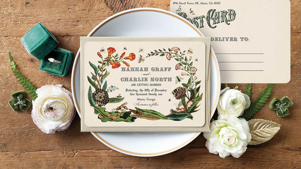 Vintage Botanical Save the Date Postcards