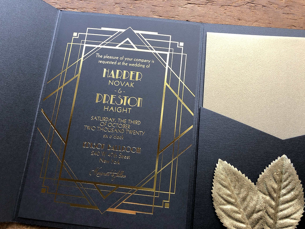 gold and black wedding invitations, gold & black wedding, gatsby wedding invitations, great gatsby, art deco wedding, art deco invitations, great gatsby party