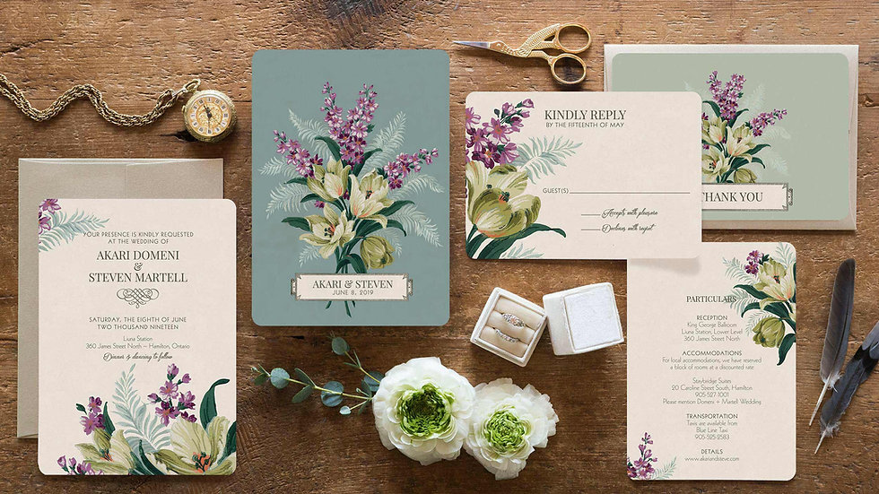 Vintage Lilac Garden Wedding Invitations