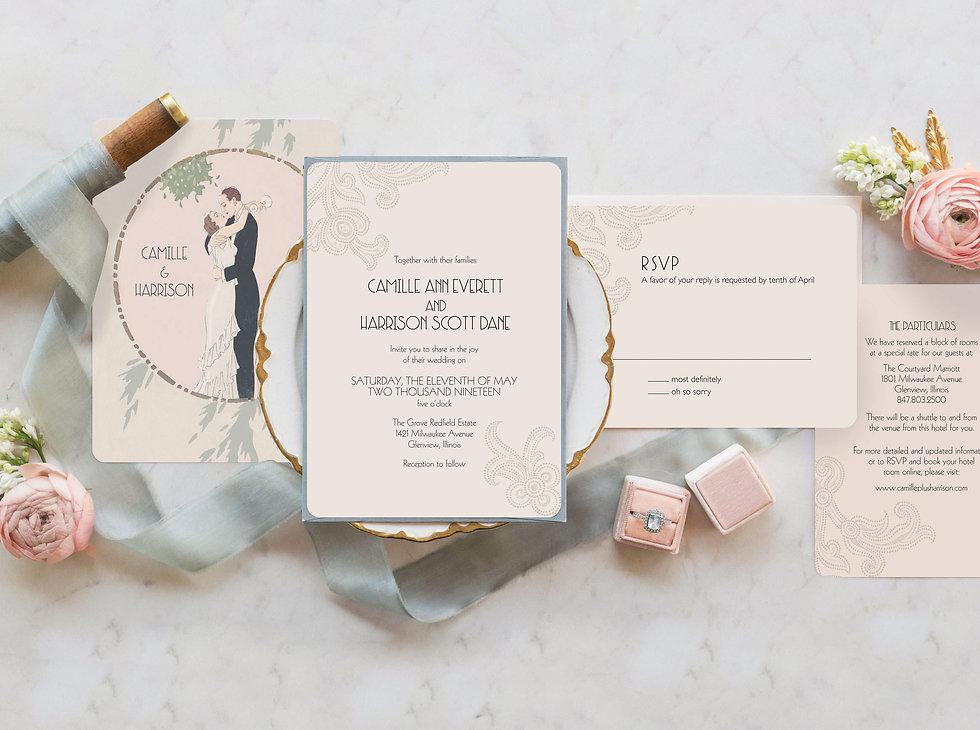 1920s_wedding_invitation_deco, great gatsby invitation, gatsby save the date card, art deco save the date cards, art deco wedding invitations