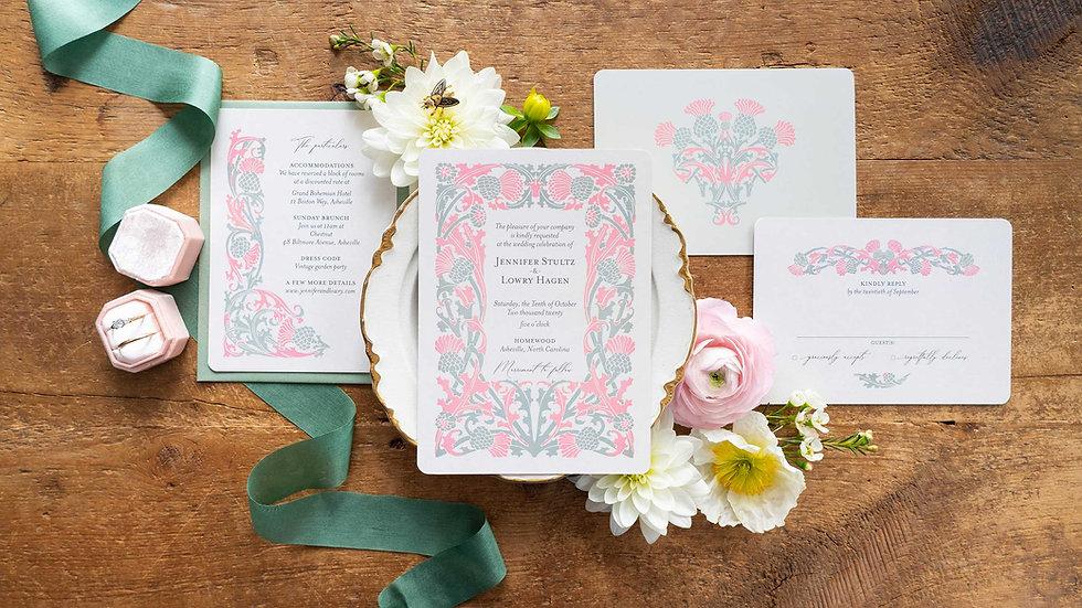 Art Nouveau Wedding Invitations - The Thistle