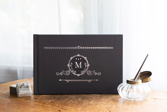 Vintage Black & Silver Guest Book - Colors fully customizable