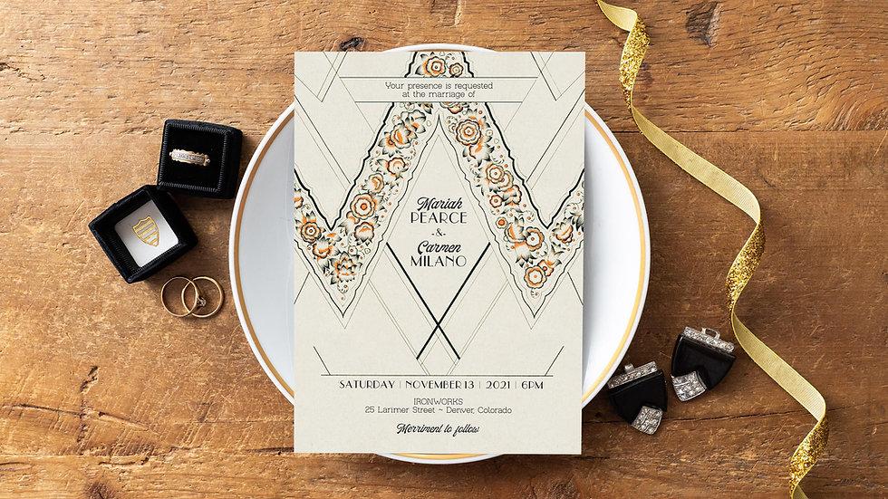 Art Deco Wedding Invitations - Le Parisienne Gatsby