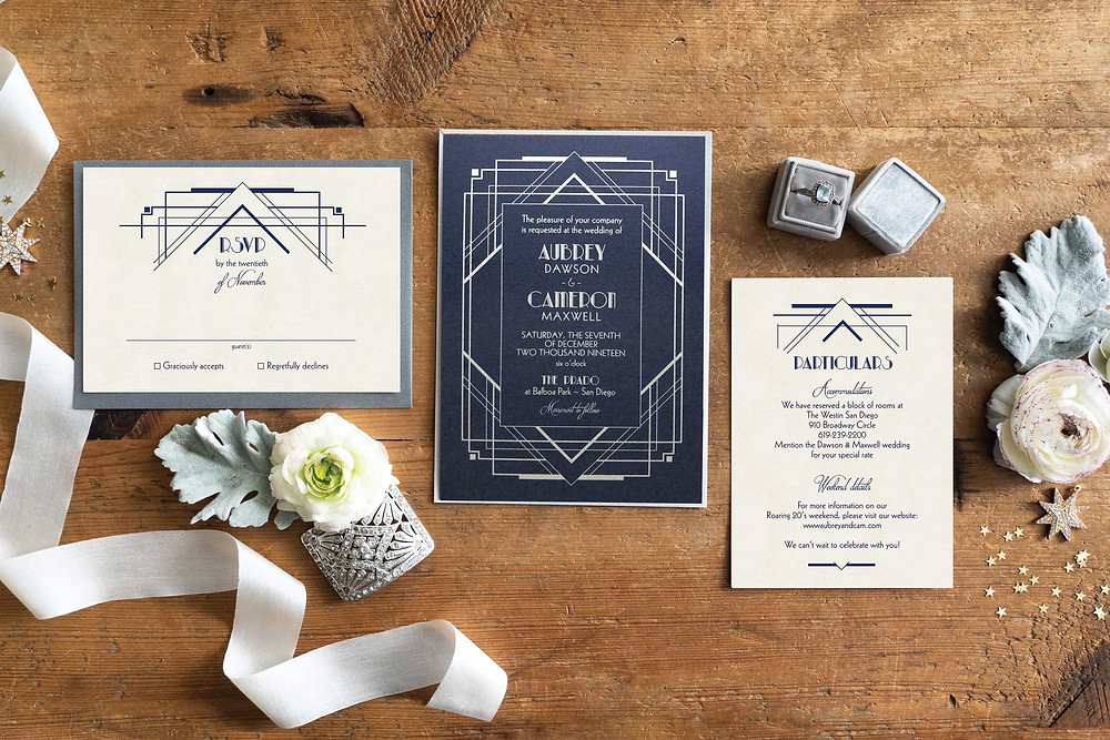 art deco wedding invitations, gatsby wedding invitations