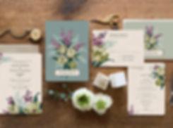 Lilac wedding invitations, vintage wedding invitations, gogosnap wedding, floral wedding invitations, 1940s wedding, vintage floral invitations, botanical wedding invitations