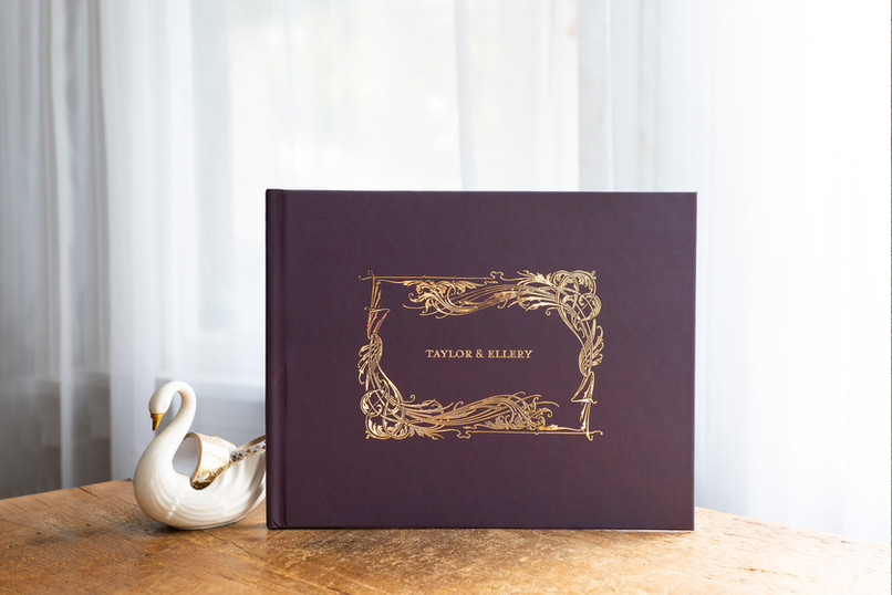 Vintage Burgundy & Gold Guest Book - Colors fully customizable