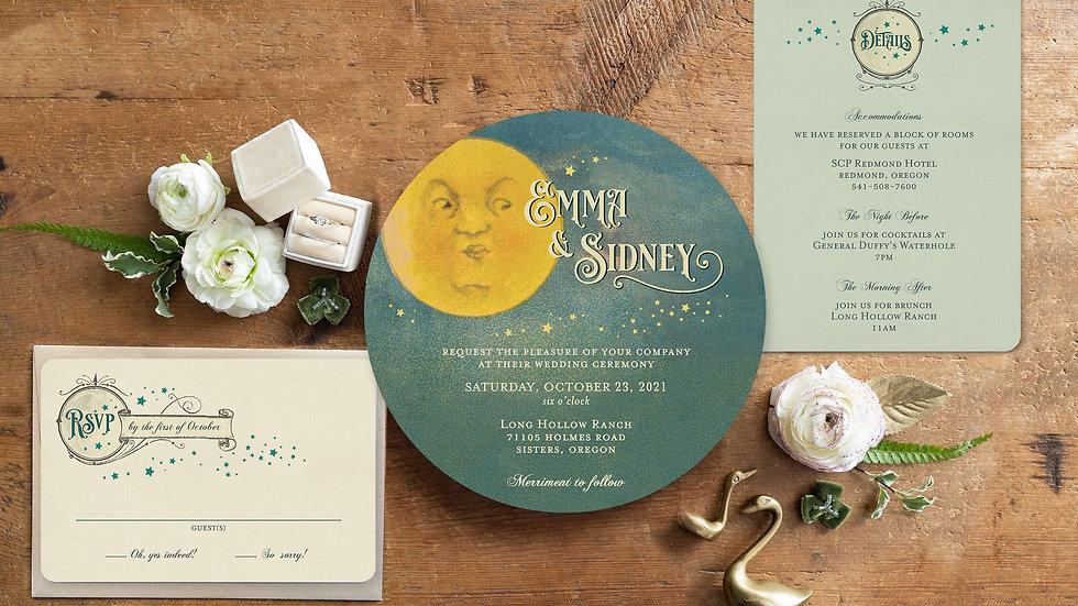 Oh, Dear Moon Vintage Wedding Stationery