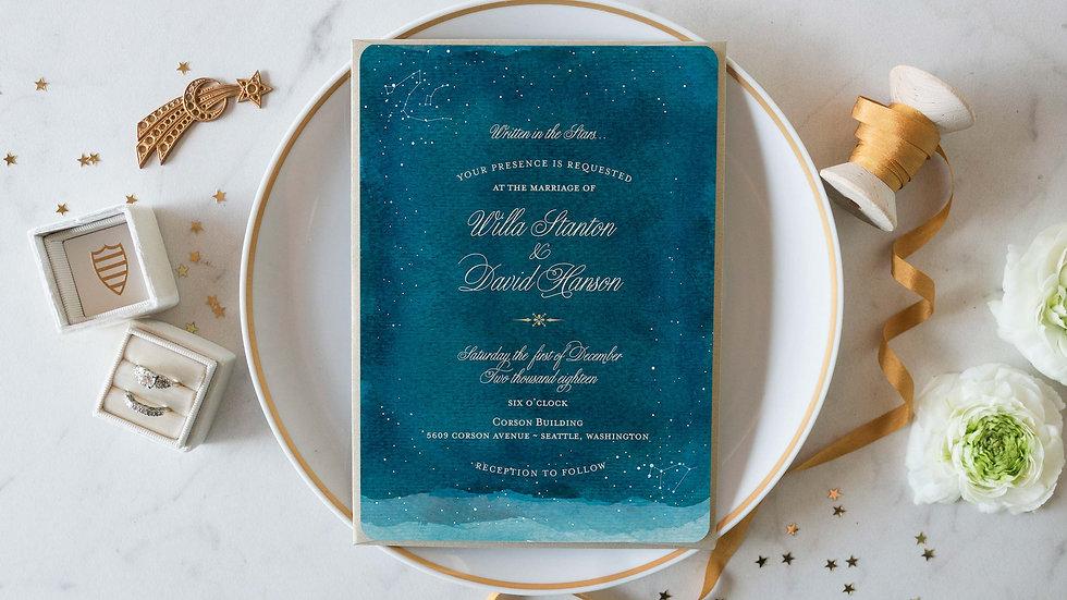 Vintage Celestial Stars Wedding Invitations