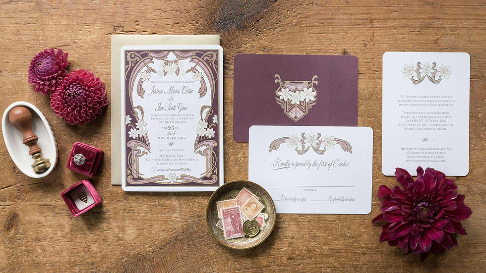 Art Nouveau Wedding Invitations - Le Marguerite