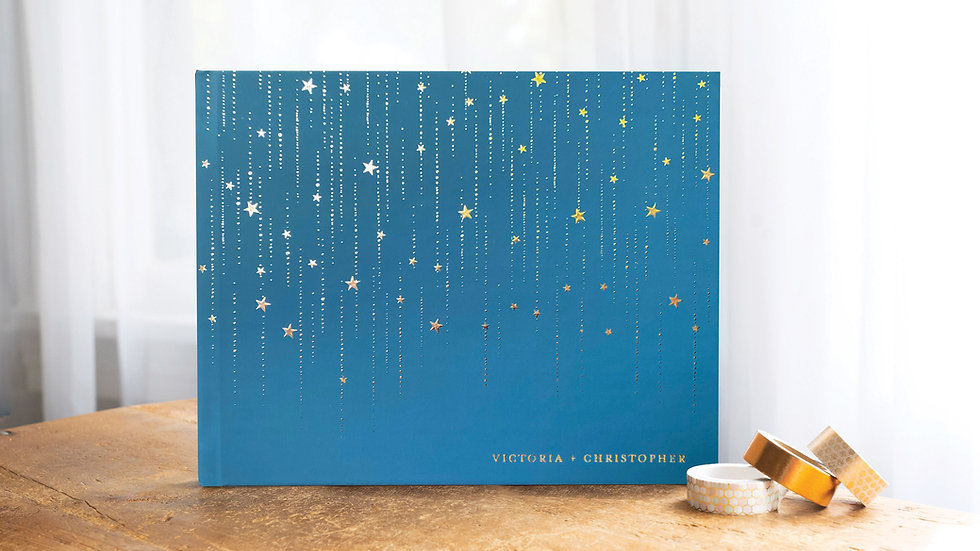 Navy and Gold Starry Night Guest Book Wedding Album