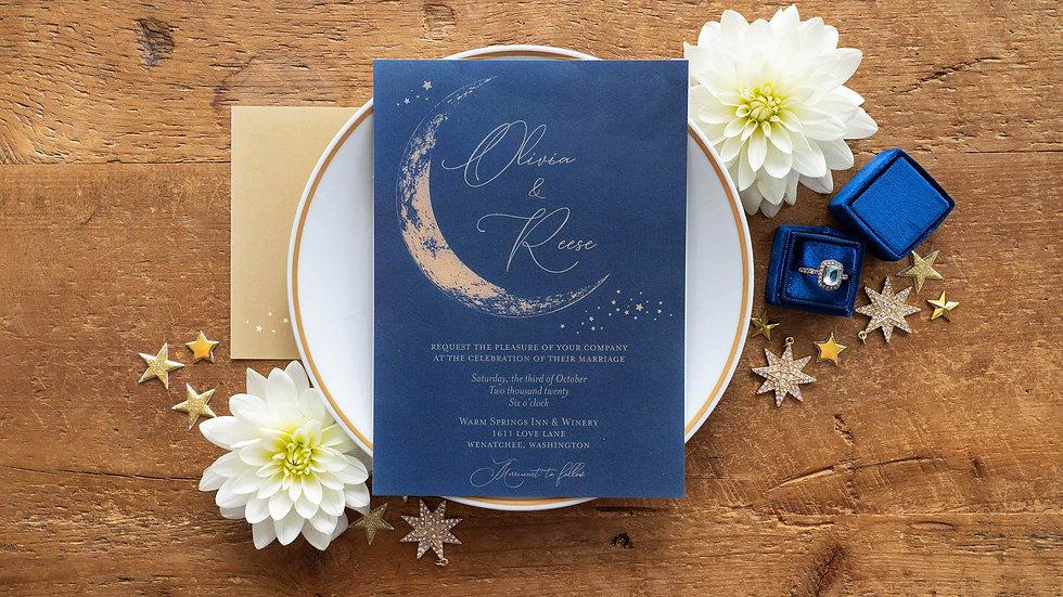 Crescent Moon Celestial Wedding Invitations