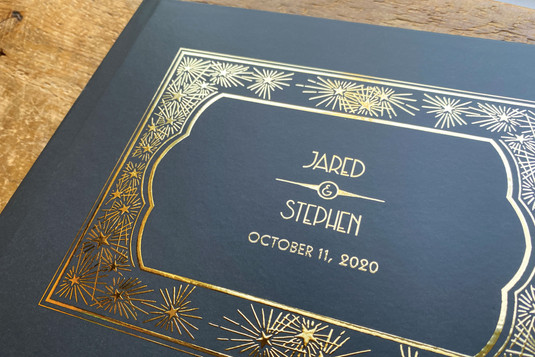 Black & Gold Great Gatsby Guest Book - Colors fully customizable